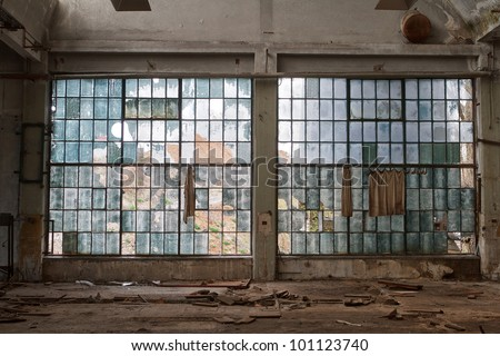 big windows in the workshop hall factory #101123740