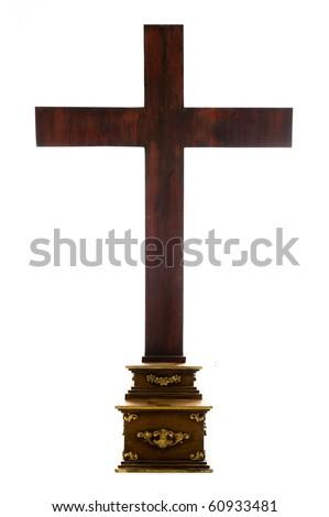 Big Wood Cross isolated on white background .