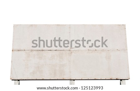 big wooden billboard isolated on white background