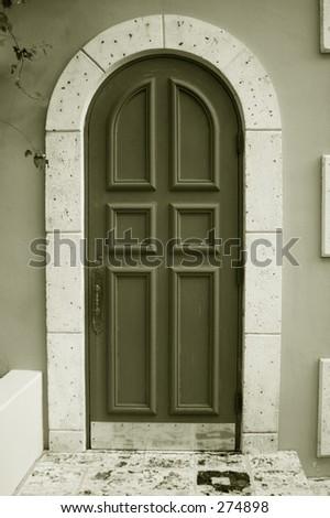 big wooden door - black and white