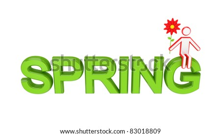 Big word SPRING and 3D small person sitting on it. Isolated on white background.