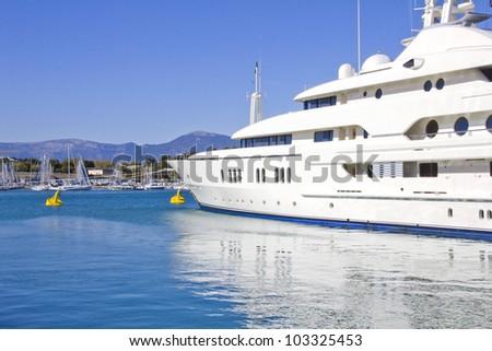 Big yacht in a blue sea