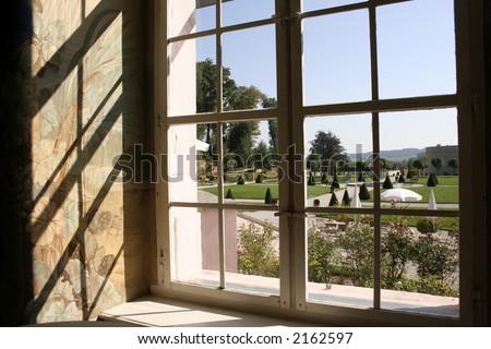Big yard seen trough a window #2162597