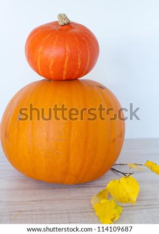Big yellow and orange pumpkin decorated for Halloween