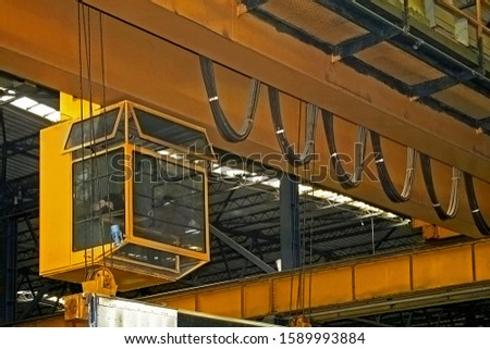 Big yellow crane lifter for heavy load