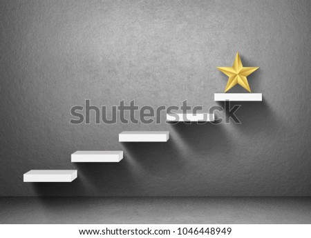 big yellow Star on stair, business successful concept #1046448949