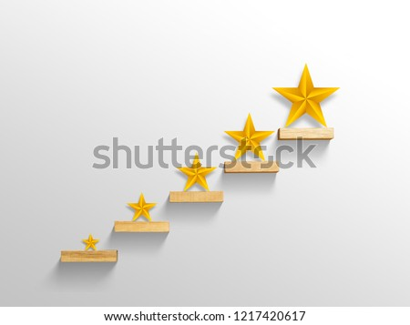 big yellow Star on stair, business successful concept Foto stock ©