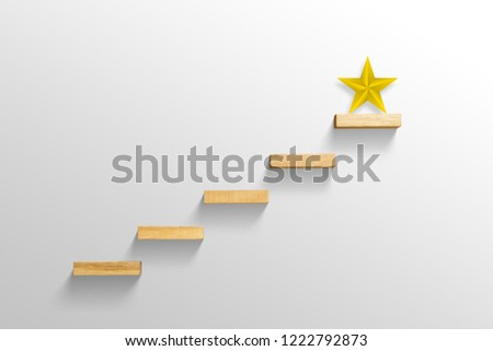 big yellow Star on stair, business successful concept #1222792873