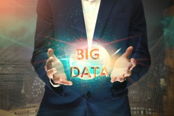 Bigdata digital wizard in Businessman hands, illustrates Bigdata technology addressing current business requirements