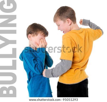 stock photo : Bigger Boy Bullying Smaller Boy