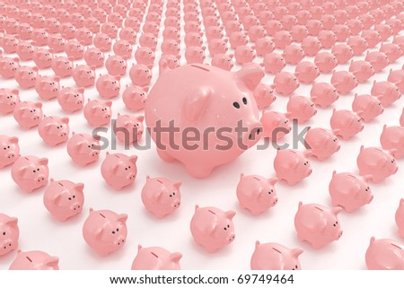 Bigger piggy bank standing out from others