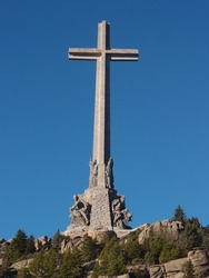 Biggest cross in the world in The Valley of the Fallen. Monument to the fallen in the Spanish civil war built by the general Francisco Franco.