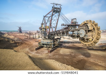 Biggest excavator in the world working, Bagger 228, Ukraine. Big mine, develop mineral resources, excavator digs, metallurgy in Ukraine