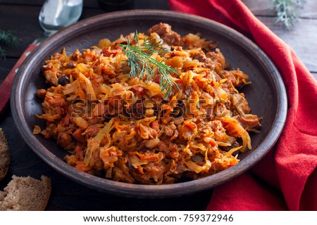 Bigos, a traditional Polish dish with cabbage, horizontal