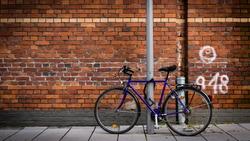 Bike at brick wall