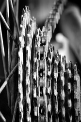 Bike chain links and cogs on mountainbike mtb fun and exercise