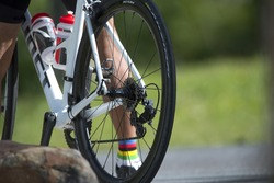 Bike chain spinning back tire , rear wheel