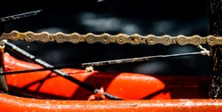 Bike chains are rusty and dirty because they are not properly maintained or maintained.