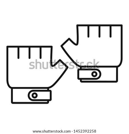 Bike gloves icon. Outline bike gloves icon for web design isolated on white background