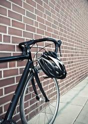 Bike helmet on race road bike
