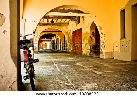 bike in a typical italian porch