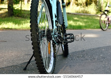Bike in the forest. No people. Adventure summer outdoor. Outdoor sports vacation. Healthy lifestyle concept.