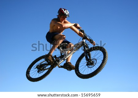 bike jump against the sky