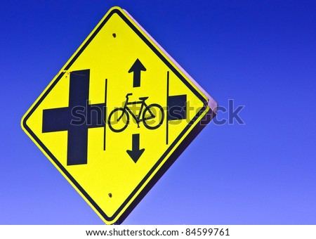 Bike lane right of way sign - stock photo