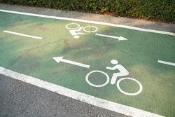 Bike lane signs painted onto a green bike lane. Bicycle lane in the park.