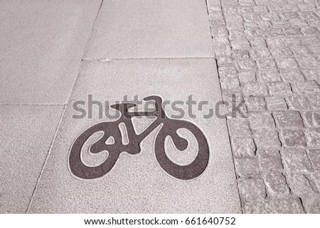 Bike Lane Symbol In Stockholm Sweden Europe In Black And White