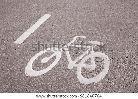 Bike Lane Symbol Stockholm Sweden In Black And White Sepia Tone