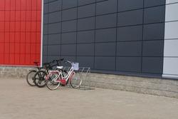 Bike Parking near colorful buildings