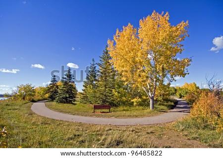 Bike Path around Glenmore Reservoir, Calgary, Alberta, Canada