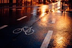 Bike path at night and in the rain