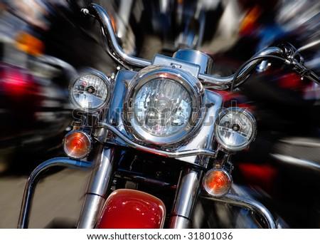 bike rushing at city streeet - motion blur