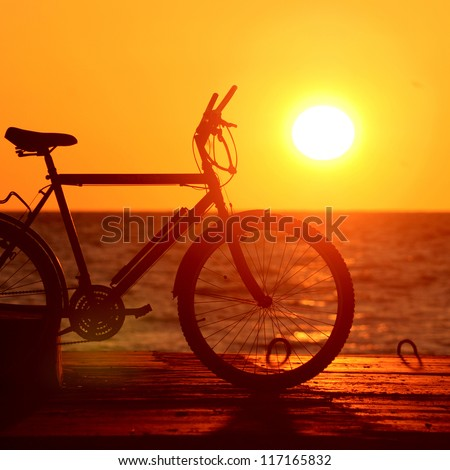 bike silhouette at the sunset near sea