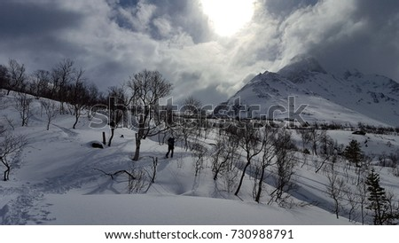 Bike tour and Ski tour to the top of Hurrungen in Norway #730988791