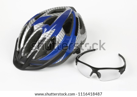 bike transparent glasses on the background of the helmet #1116418487