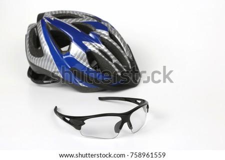 bike transparent glasses on the background of the helmet #758961559