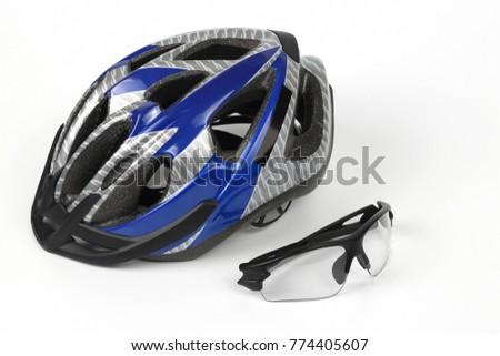 bike transparent glasses on the background of the helmet #774405607