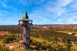 Biked Margaret Lookout point in Hungary between Keszthely city and Heviz city. This unique small tower built by Wood. Hungarian name is Margit kilátó
