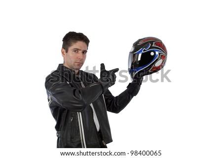 Biker holding helmet