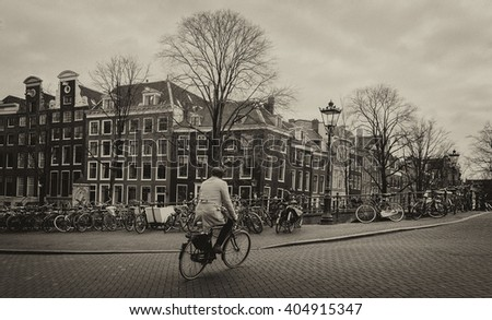 biker in amsterdam. vintage...