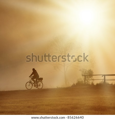 biker is driving with his bike on the bridge with sunset