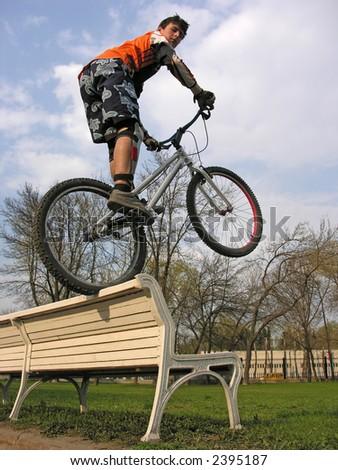 biker on bench