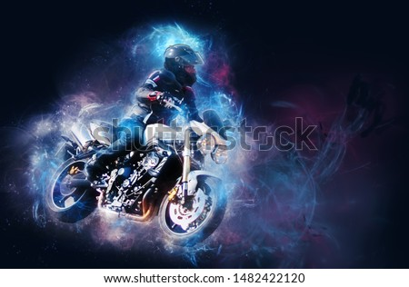 biker on his motorcycle with cosmic effect. #1482422120