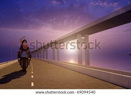 Biker  on the highway skyline