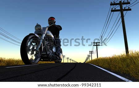 Biker on the road against the sky