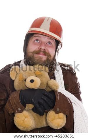 biker with bear