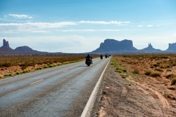 Bikers riding to Monument Valley